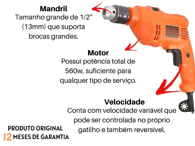 Furadeira Black E Decker Tm-555 RV 560w 13mm Reversivel - Foto 5