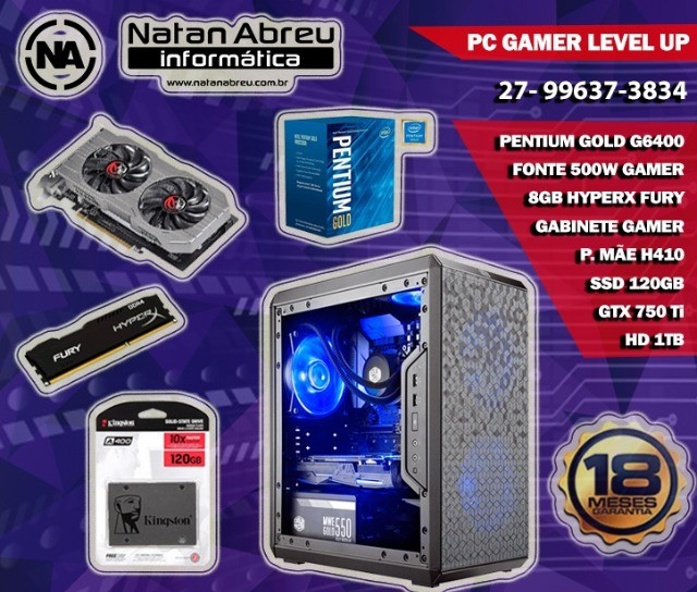 PC Gamer Intel Pentium Gold G6400 + GTX 750Ti + 8Gb HyperX + Ssd + Hd - Loja Natan Abreu