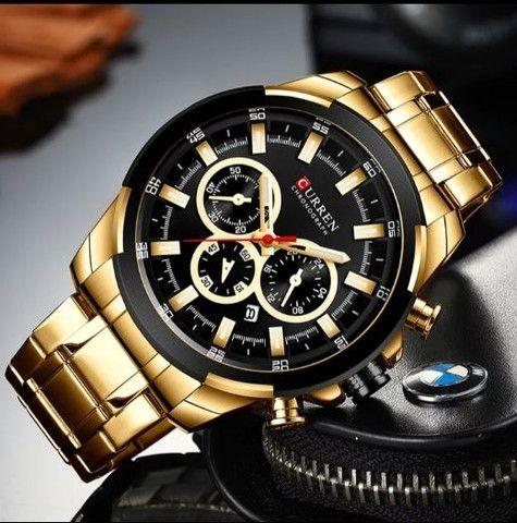 Relógio Curren esportivo de luxo masculino, novo a prova d'água