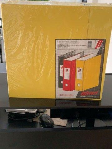 3 pastas organizadoras novas com ferragem cromada, marca polycart cor amarela