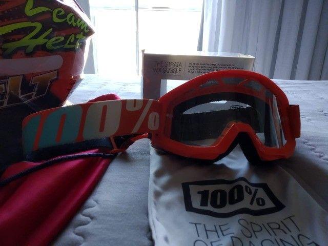 Capacete de Motocross Helt e Óculos da 100% - Foto 2