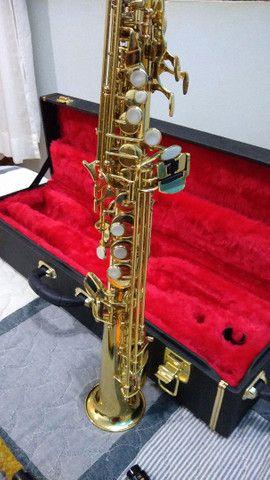 Saxofone soprano (reto) vendo ou troco por trompete - Foto 4