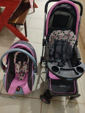 Carrinho de bebê c/ bebê conforto cosco - Foto 3