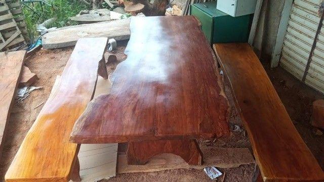 Mesa com bancos tipo rustica - Foto 4