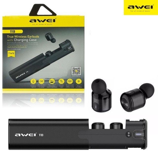 Fone De Ouvido Earfone Sem Fio Bluetooth Awei T8 C/ Case - Foto 4
