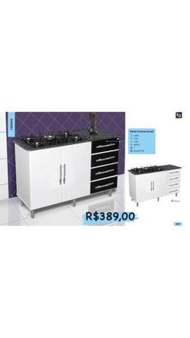 Balcão para cooktop com armário e gavetas