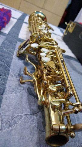 Saxofone soprano (reto) vendo ou troco por trompete - Foto 6