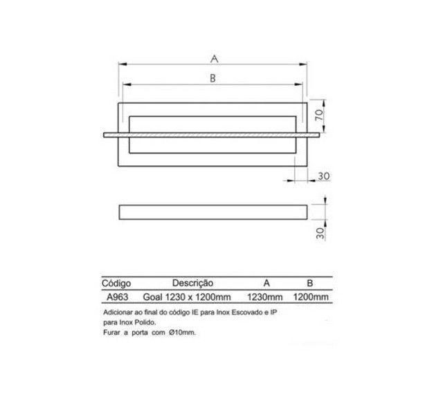 Puxador de Porta Inox 304 Polido 120cm 30x30x1200mm - Foto 3