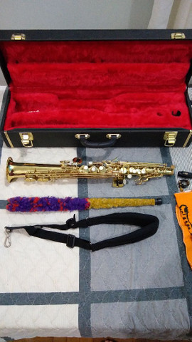 Saxofone soprano (reto) vendo ou troco por trompete - Foto 3