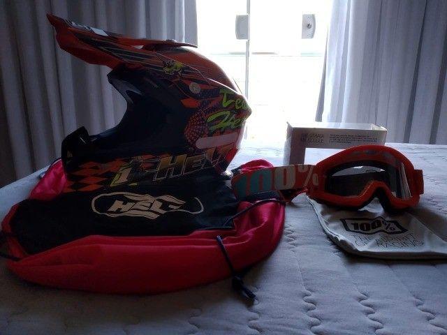 Capacete de Motocross Helt e Óculos da 100%