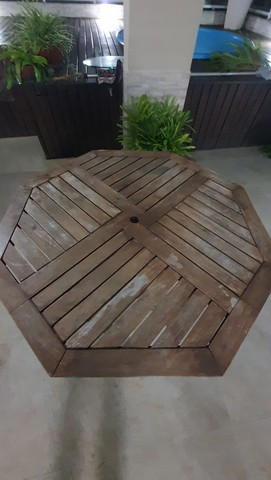 Mesa sextava madeira para jardim