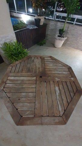 Mesa sextava madeira para jardim - Foto 6