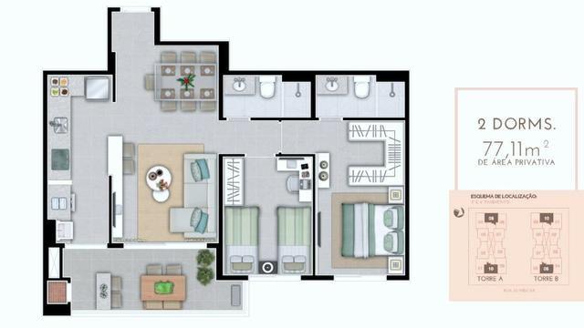 Apto 2 dorm, com suite, ao lado Floripa Shopping Ref. 29440 - Foto 2