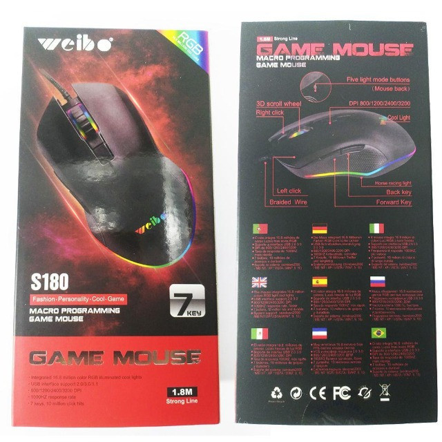 Mouse Weibo S180 Para Games Home Office 3200 Dpi - Foto 4