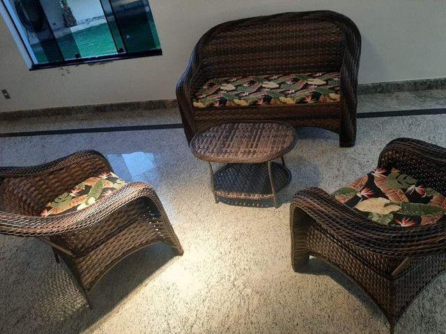 Conjunto de sofá São Cristóvão em fibra sintética - Foto 2
