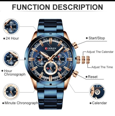 Relógio Curren esportivo de luxo masculino, novo a prova d'água - Foto 3
