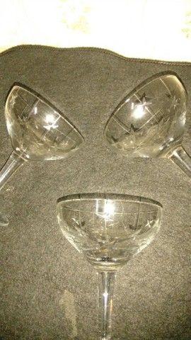 12 taças de champagne antigas de cristal lapidado - Foto 2