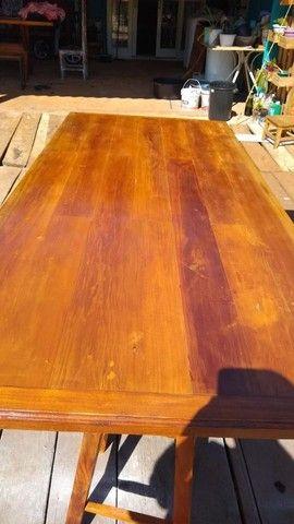 Mesa mais bancos madeira demolição peroba rosa a pronta