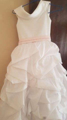 Vestido branco princesa para menina daminha