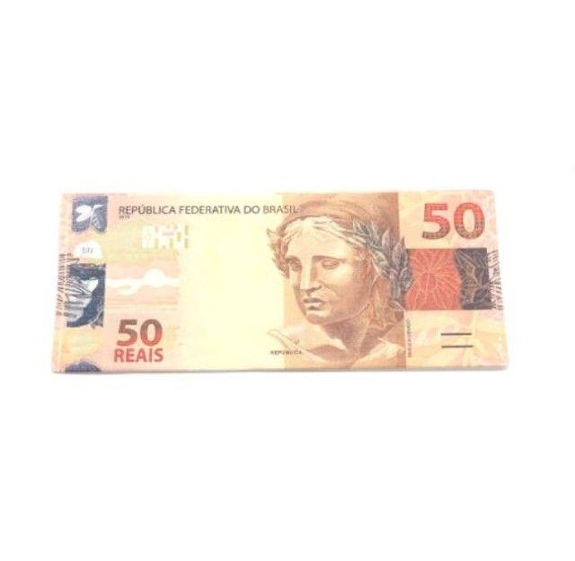 Carteira Estampada de Notas Estrangeiras Dólar/ Euro/ Real Guardar Cédulas Documentos  - Foto 2