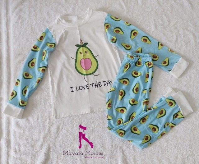 Pijamas infantis feminino manga longa