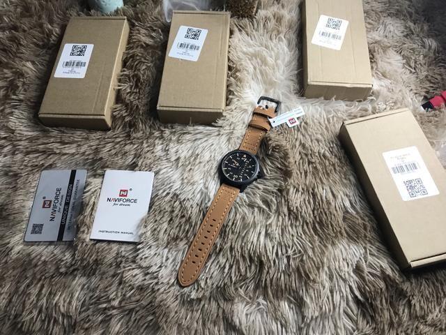 Para zerar estoque relógio Naviforce sport pulseira couro original