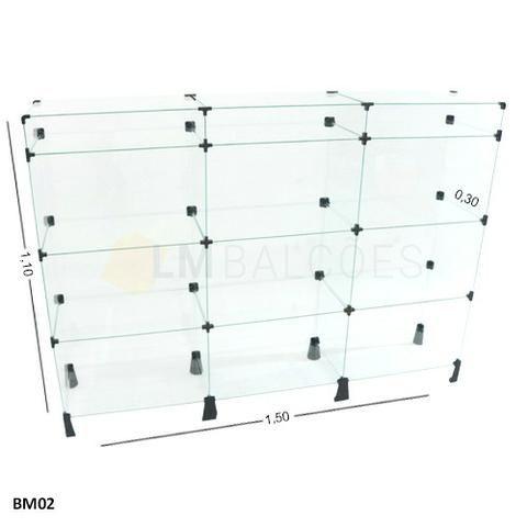 Balcao modular de Vidro 1,50 x 1,10 x 0,30 FRete e Gratis