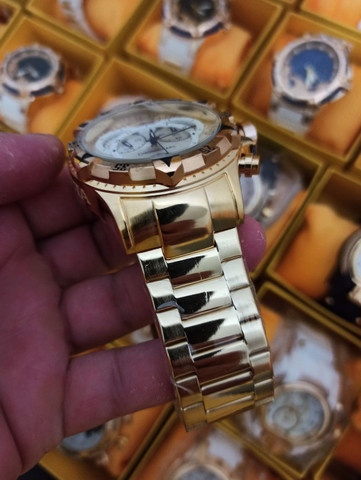 Relógio masculino invicta dourado todo funcional - Foto 4