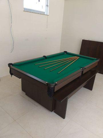 Mesa de Bilhar Encanto Imbuia Tecido Verde Modelo POQ0221