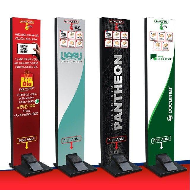 Totem Gel Pedal - Display Para Alcool Gel Higienizador Mãos - Linha Soft - Foto 2