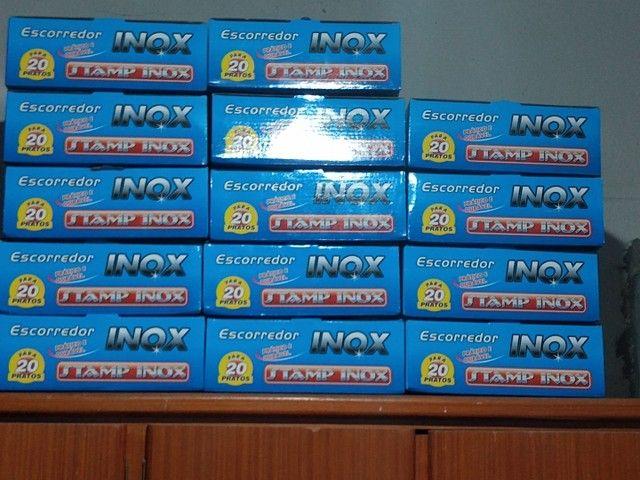 Escorredor Inox p/20 pratos (novo na caixa) - Foto 2