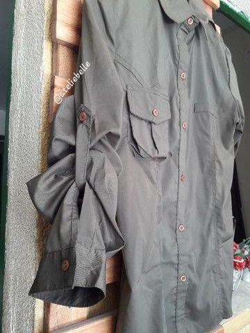 Blusa militar feminina em tecido  - Foto 3