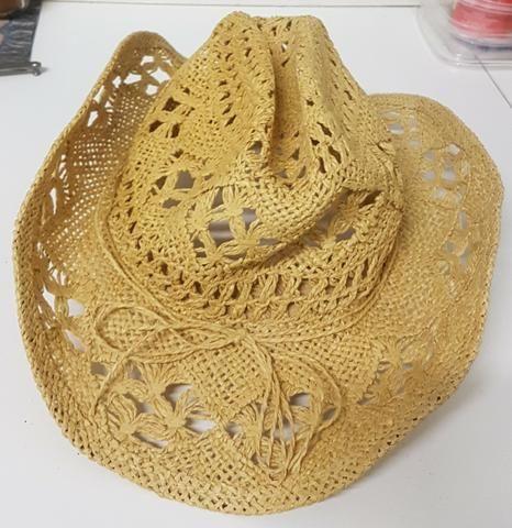 Chapéu tipo palha vazado estilo country feminino