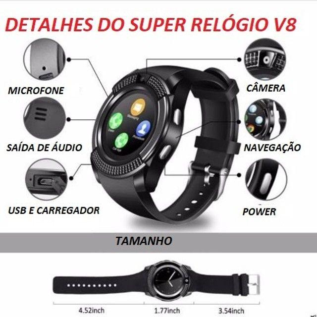 Relógio com Funções Celular  Design Moderno Smart V8 Preto - Foto 6