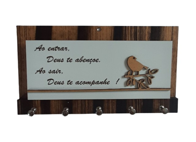 Porta Chaves Decoração Parede Porta Cartas Madeira - Foto 2