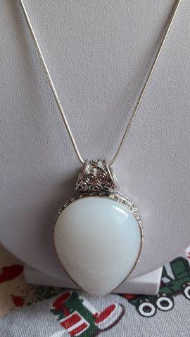Colar em prata com pedra Branca linda e original  - Foto 2