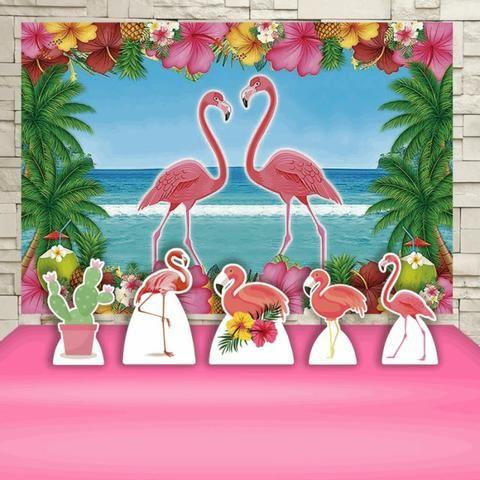 Flamingos - - Kit Festa Painel + Display de Mesa e Chão