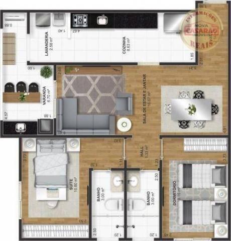 Apartamento com 2 dormitórios à venda, 72 m² por R$ 362.373 - Cidade Ocian - Praia Grande/ - Foto 6