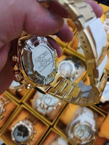 Relógio masculino invicta dourado todo funcional - Foto 5