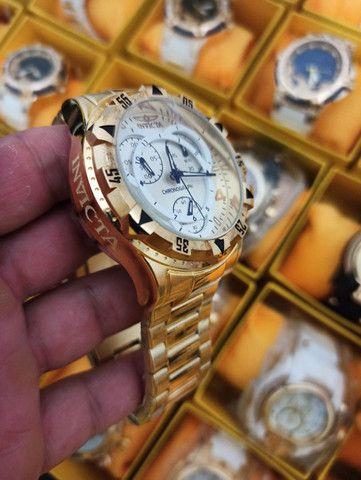 Relógio masculino invicta dourado todo funcional - Foto 2