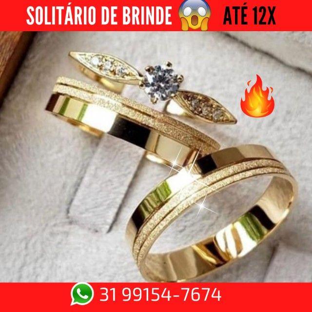 Alianças de Moeda +Solitário de Brinde   - Foto 5