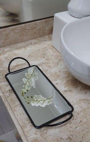 Bandeja Espelhada Para Banheiro Retangular Lavabo Sala Preta - Foto 6