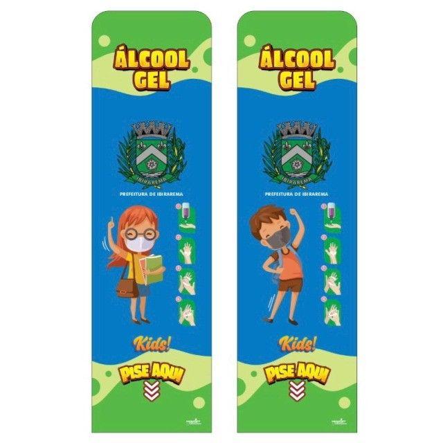 Totem Álcool Gel Escolar Kids - Display Suporte C/ Pedal - Foto 3