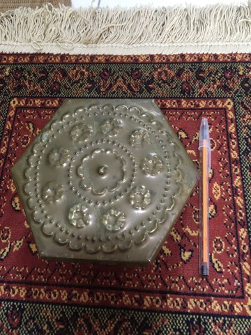 Lata Árabe Antiga Latão C/ Tampa 6x14 - Foto 6