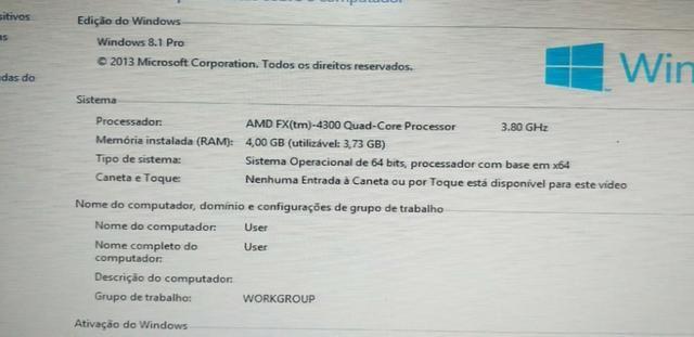 Computador montado fx 4300 Windows 8.1 Antivírus para 02 anos original - Foto 2
