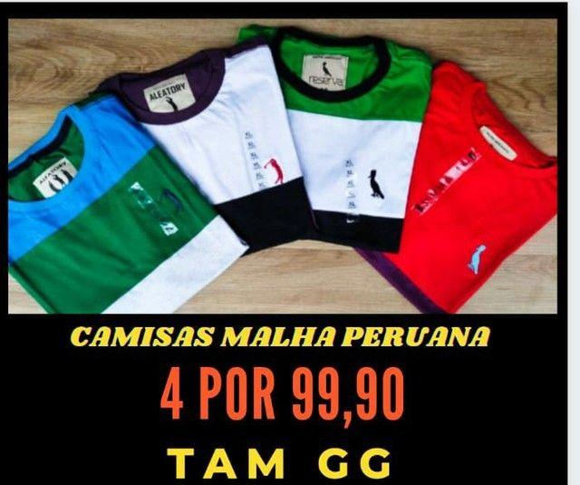 Promoção 4 camisas malha peruana por R$100