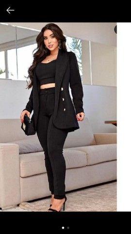 Maxi blazer alongado Estruturado alfaiataria luxo preto e rosa tam único