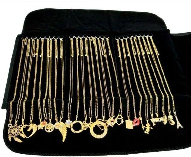 Colares femininos banhados a ouro e prata 925 - Foto 4