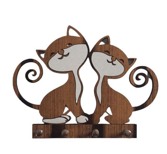 Porta Chaves Em MDF 2 Gatos Juntos