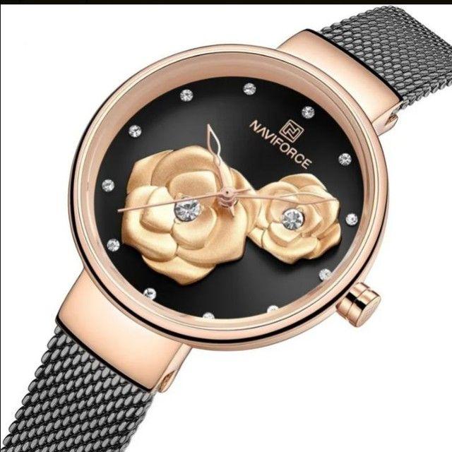 Relógio Original Feminino NaviForce preto com Rose